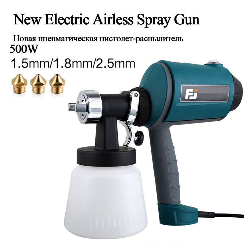 500W Electric Airless Spray Paint Gun 1.5mm/1.8mm/2.5mm Nozzle High Voltag With Air compressor For Car Aerograph Painting Tools500W Electric Airless Spray Paint Gun 1.5mm/1.8mm/2.5mm Nozzle High Voltag With Air compressor For Car Aerograph Painting Tools