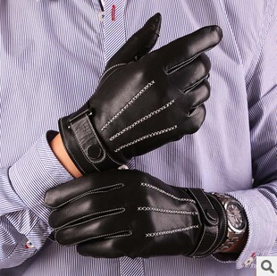 New Genuine Leather Touch Screen Glove For men With Short Glove S M L XL Free Shipping