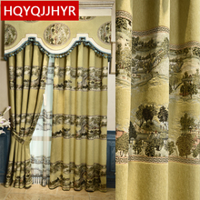 Chinese luxury landscape jacquard blackout curtains for living room windows High quality embroidered Voile curtain bedroom