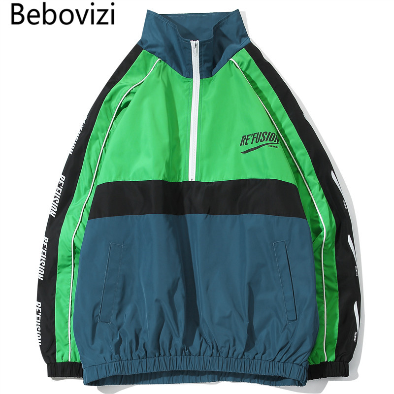 Bebovizi חדש אופנה Streetwear צבע בלוק טלאים ירוק מעיל רוח מעילי גברים היפ הופ בסוודרים אימונית מעיל Homme