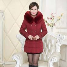 Новый 2016 зима густой мех воротника длинные Ватные куртки женщины среднего возраста Тонкий С Капюшоном плюс размер 5XL вниз хлопка пальто куртки AE907