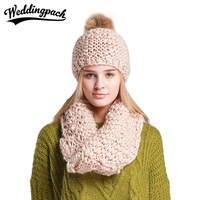 2 PCS Crochet Women Hat Scarf Set Winter Warm Womens Beanie With Pompom Autumn Knit Female