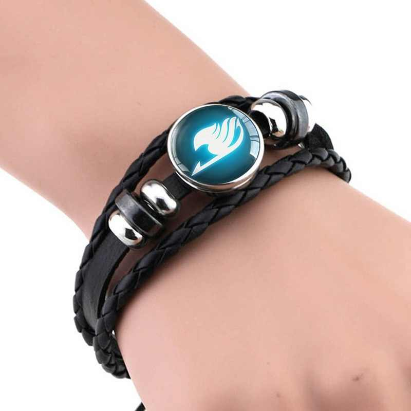 Black Leather Bangle Bracelets Fairy Tail Bracelet Guild Logo Glass Cabochon  Anime Jewelry Gift for Anime Cosplay Lover Gifts