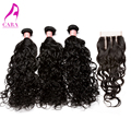 6A Brazilian Virgin Hair With Closure Water Wave Hair Weft With Closure Wet And Wavy Virgin Brazilian Hair Rosa Hair Products
