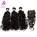 6A brasileño de la virgen el pelo con cierre Water Wave trama del pelo con cierre brasileño virginal mojado y ondulado del pelo Rosa Hair Products