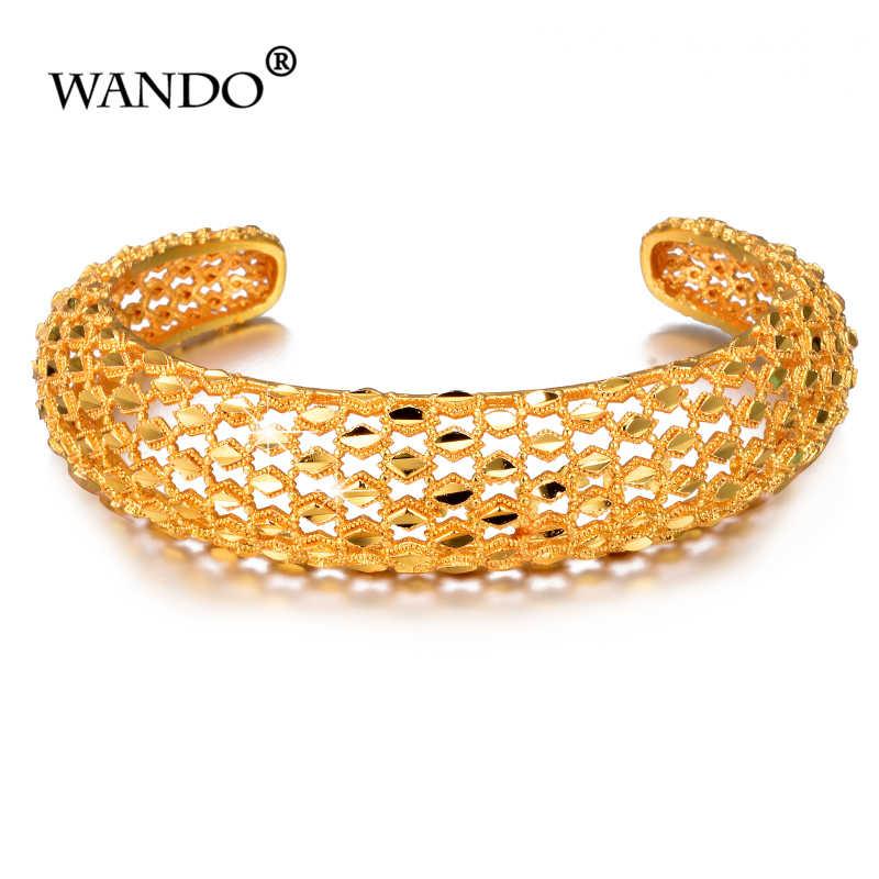WANDO 4 sztuk/partia etiopii panna młoda bransoletka dla kobiet złoty kolor hurtowych Dubai bransoletka afrykańskie biżuteria arabska Fancy prezent B150