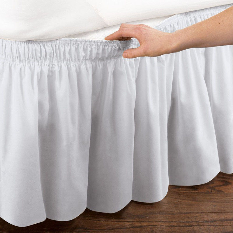 New Bed Skirt 12 Colors Solid Durable Safety Brushed Bed Cover Extra Large Elastic Bed Frame 38 cm Height Bed Cover|Bed Skirt| |  - title=