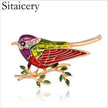 Sitaicery Rhinestone Colorful Enamel Bird Branch Brooch Pins Men Women's Alloy Bird Brooches For Suits Dress Banquet Brooch Gift casio mtp v002g 1b
