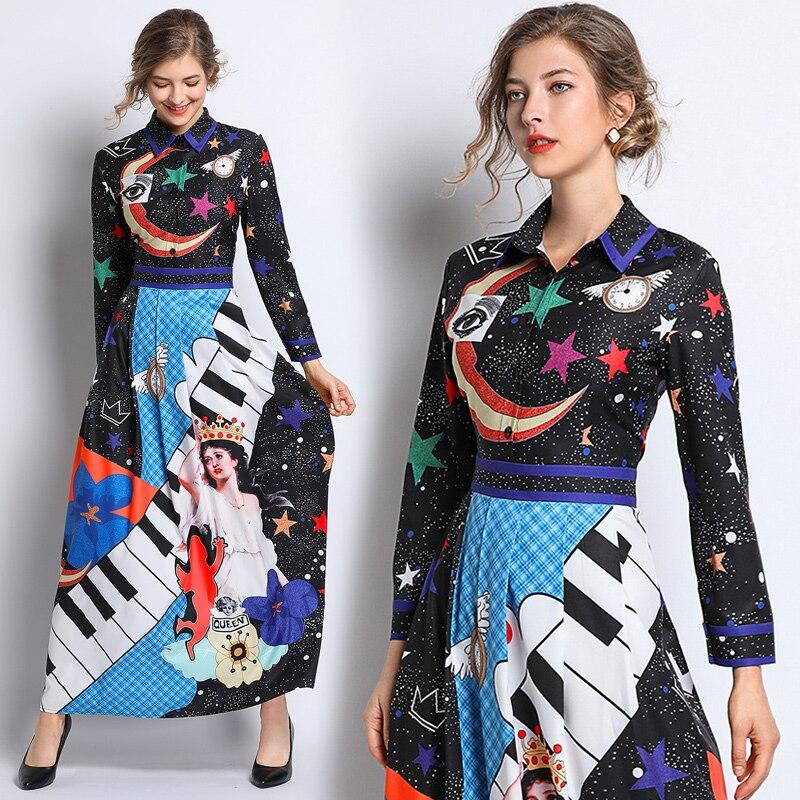 New Arrival Women's Runway Designer Dresses Long Sleeve Turn Down Collar Angel Pattern Moon Star Printed Maxi Long Dresses