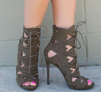Summer New Brand Women Army Green/Pink/Burgundy/Nude Cuts Out Lace Up Front Zipper Back Thin Heels Ankle Sandals Boots Booties