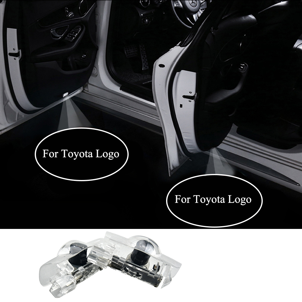 2pcs LED Car Welcome Door Lights For Toyota Camry Crowm Previa Tundra 4 Runner Sequoia RAV Courtesy Projector Shadow Logo Light