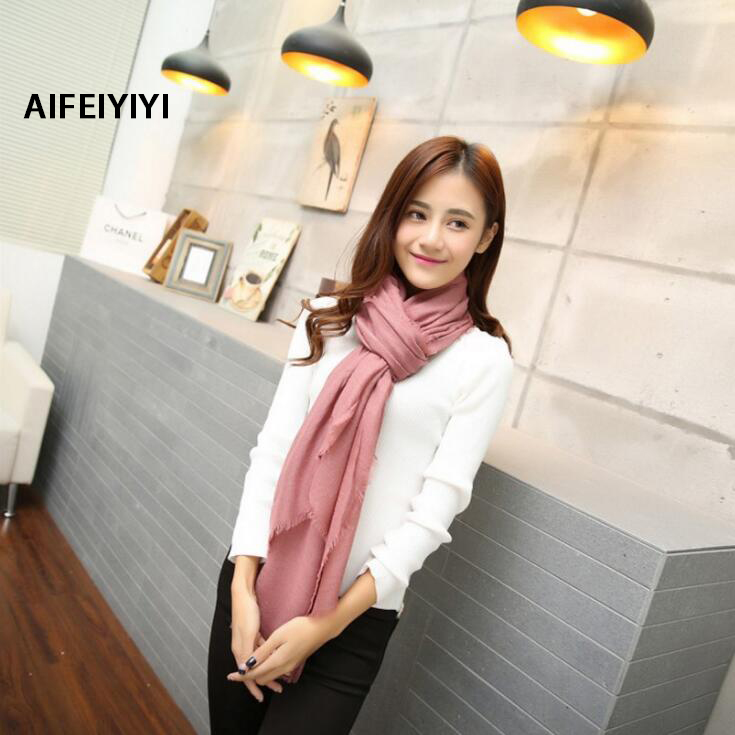 2018 autumn and winter new European and American solid color fashion soft warm large size cotton scarf