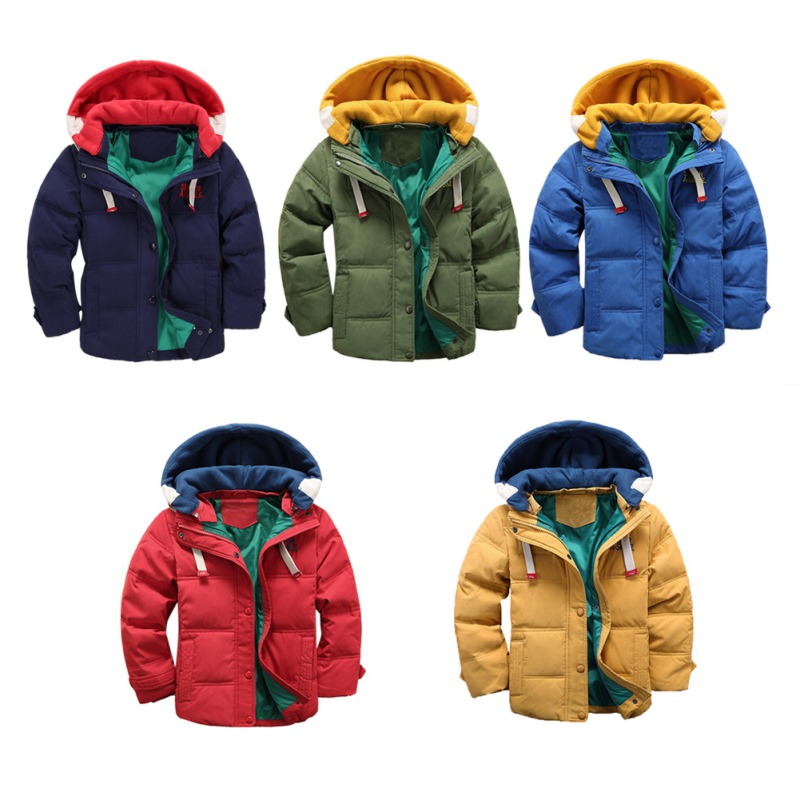 Autumn Winter Boy Solid Warm Outerwear Toddler Hooded Winter Quilted Puffer Down Coat Parka Jacket for Boys slim fit ruffle long sleeved hooded quilted coat for women
