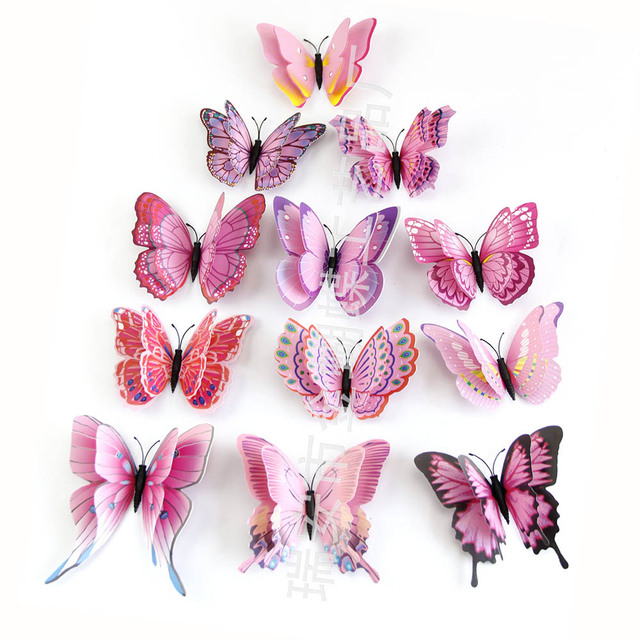 12pcs/lot Butterfly Wall Stickers Double Layer 3D Butterflies colorful bedroom living room Home Fridage Decor 4 color