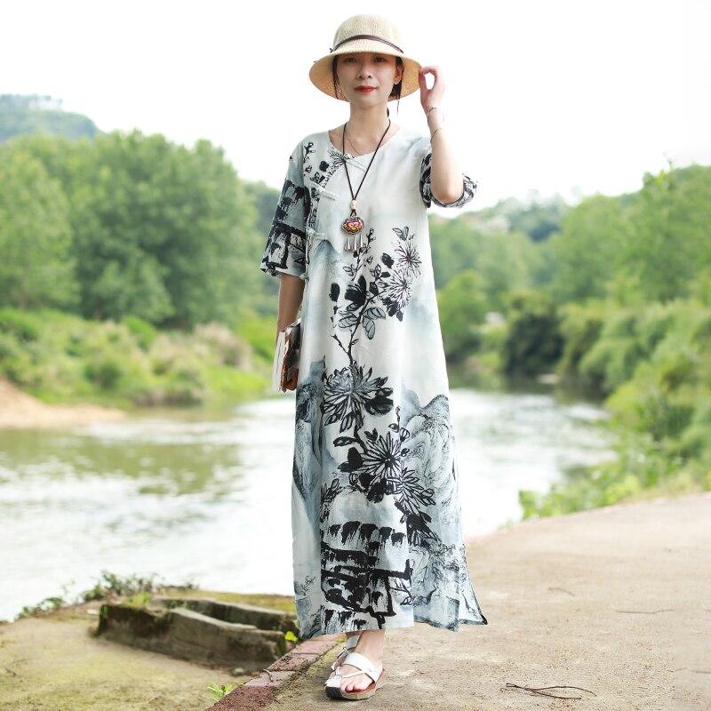 LZJN แบบดั้งเดิมหมึกจีนล้างภาพวาดยาวฤดูร้อน 2019 ผู้หญิงชุด Maxi แขนสั้น Qipao Cheongsam Vintage Robe-ใน ชุดเดรส จาก เสื้อผ้าสตรี บน   2