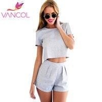 Vancol 2 Piece Set Women Summer 2016 Fashion Cotton Solid Color T Shirt Shorts Suit High
