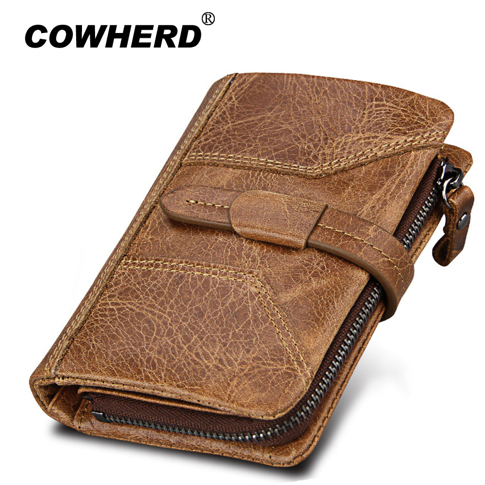COWHERD Cow Leather Men Wallet Fashion Coin Pocket Brand Trifold Multifunction Men Purse High Quality Male Card ID Holder contact s genuine cowhide leather men wallet trifold wallets fashion design brand purse id card holder with zipper coin pocket