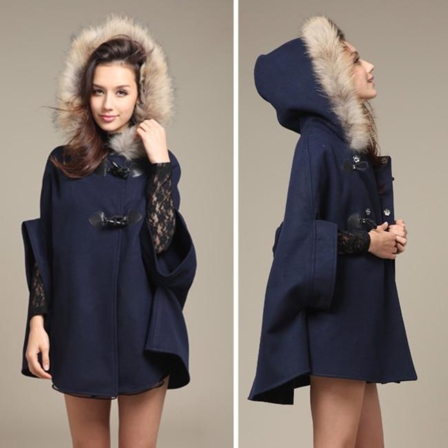 Популярная женская шаль из искусственного меха для девочек, шерстяное пончо с капюшоном, накидка с рукавом «летучая мышь», зимняя куртка, накидка, пончо - Цвет: Синий