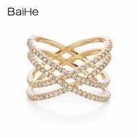 BAIHE Solid 14 К желтого золота (AU585) F G/SI около 0.70ct 100% из натуральной бриллиантами обручение милый/Романтический Мода кольцо