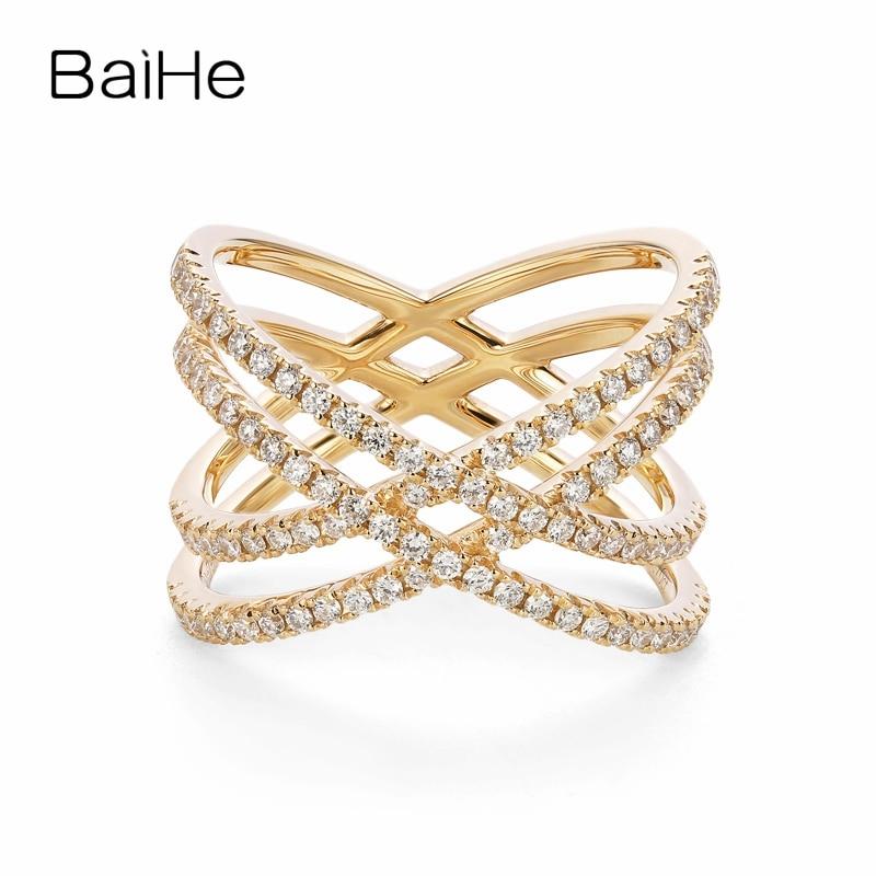 BAIHE solide 14 K or jaune (AU585) F-G/SI environ 0.70ct 100% véritables diamants naturels fiançailles mignon/romantique anneau de mode
