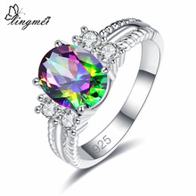 lingmei Dropshipping Fashion Oval Cut Multicolor & White Cubic Zircon Silver 925 Jewelry Ring Size 6 7 8 9 Wedding Nice Gifst