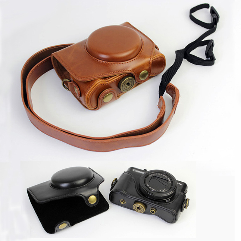 PU Leather Camera Bag Case for For Canon Powershot G7X G7XII G7X markII camera protective cover with Shoulder Strap