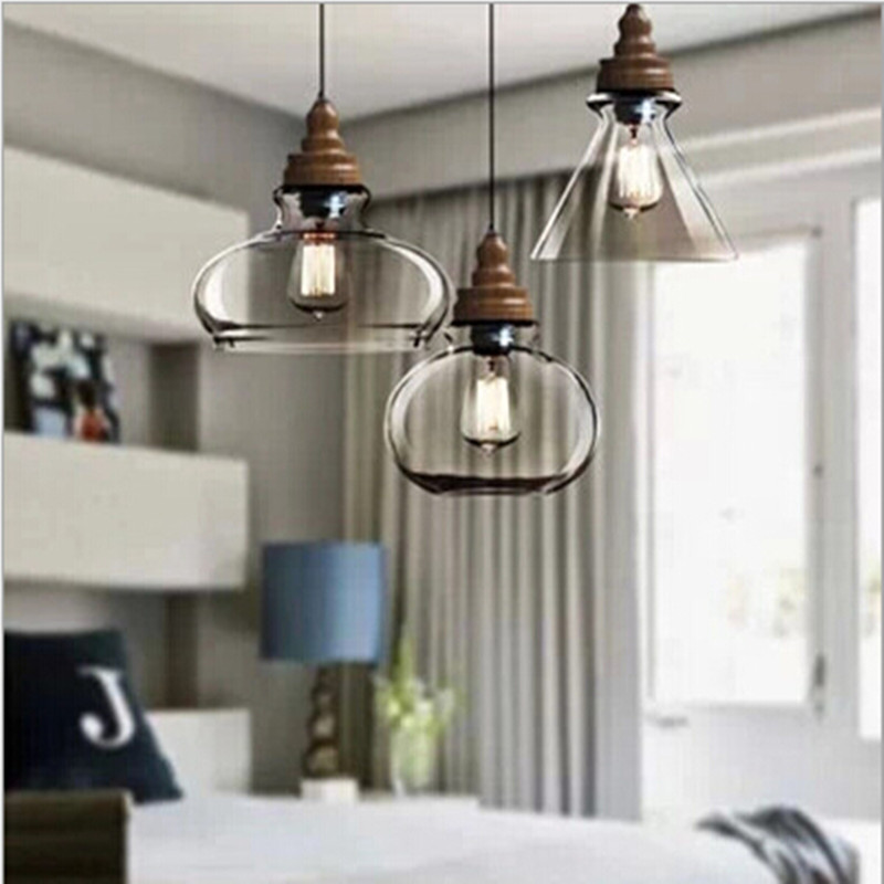 vintage handmade crystal glass wooden led e27 pendant light for dining room living room restaurant AC 80-265V 2016 ботинки fred perry ботинки