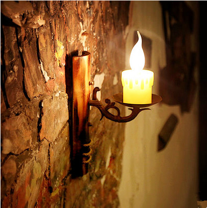 ФОТО Mediterranean Sea archaitic iron art wall lamps Nostalgic resin shade bamboo plate E14 lamp for stairs&cafe&porch&aisle LDK035