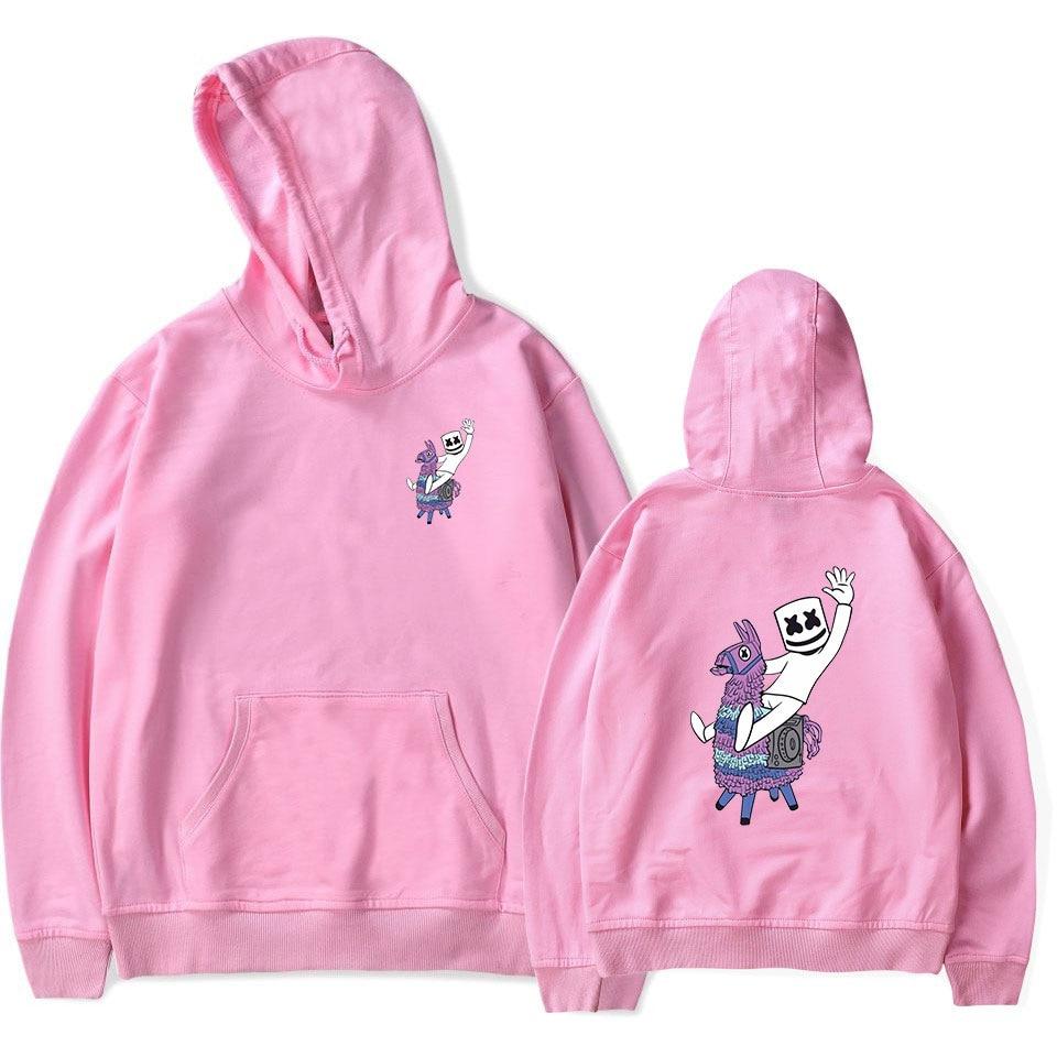 Mask Marshmello Pink Hoodies Men Women Harajuku Fleece Long Sleeve Pullover Hooded Sweatshirts Hip Hop Tracksuit Brand-Clothing