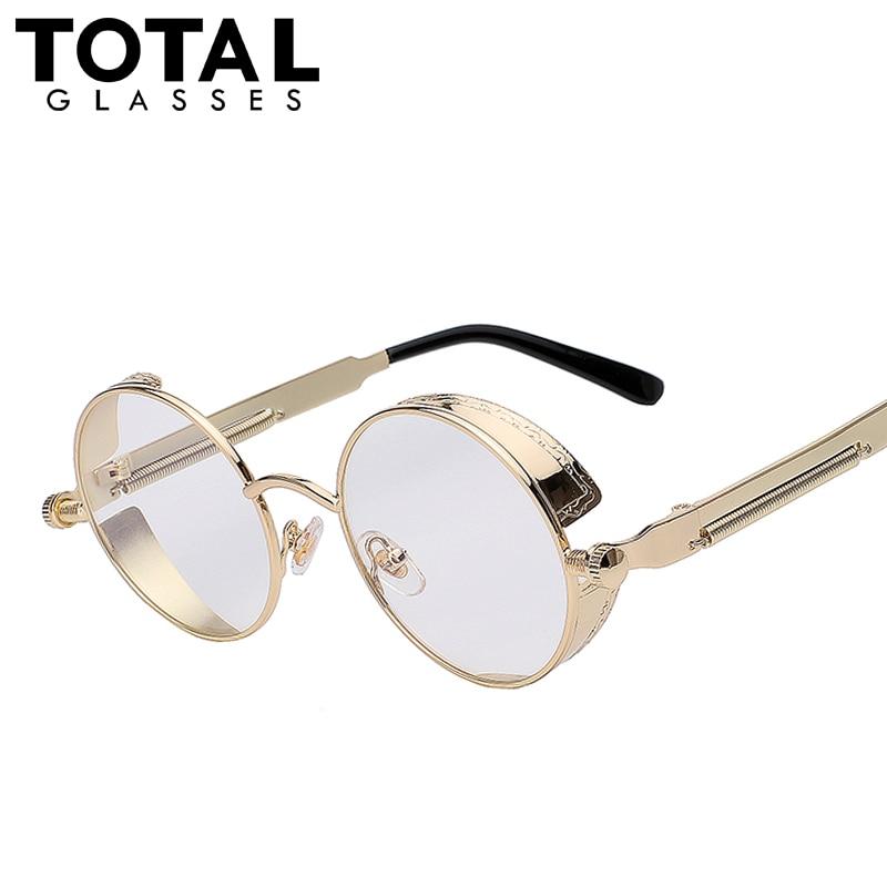 total gothic sunglasses men steampunk round metal frame sun glasses pink mirror eyewear brand designer high quality uv400