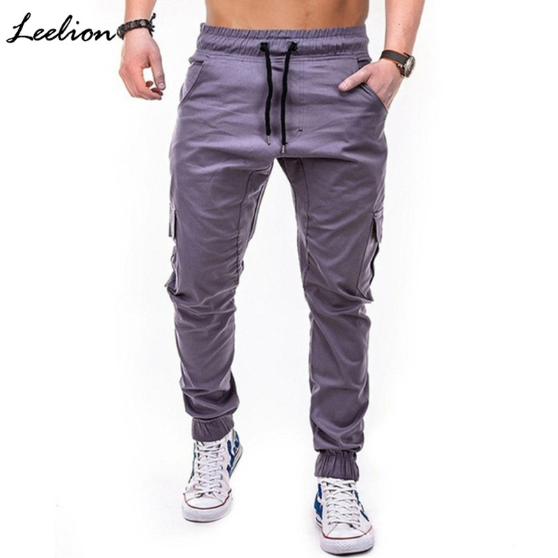 LeeLion 2018 New Cargo Pants Men Multi-pocket Knitted Trousers Man Solid Pencil Pant Fashion Casual Mens Joggers Dropshipping