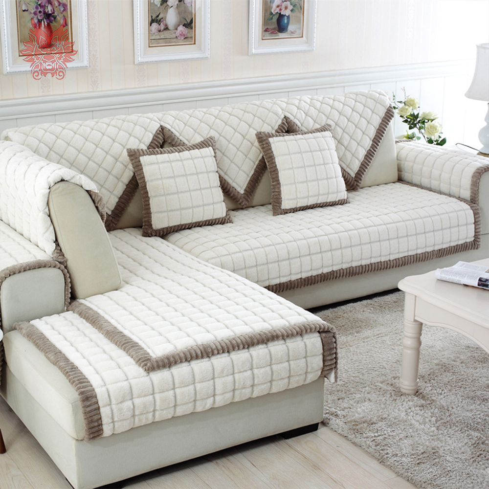 White Grey Plaid Plush Long Fur Sofa Cover Slipcovers