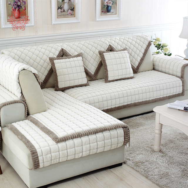 White Grey Plaid Sofa Cover Plush Long Fur Slipcovers Fundas De Sofa Sectional Couch Covers