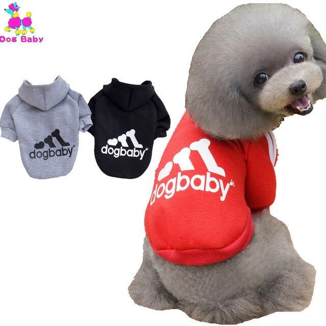 US $2.14 30% OFF|DOGBABY HALTEN Sport Stil Hunde Hoodies Herbst Winter Haustier Kleidung Für Yorkshire Terrier Hunde 100% Baumwolle Katze Kleidung