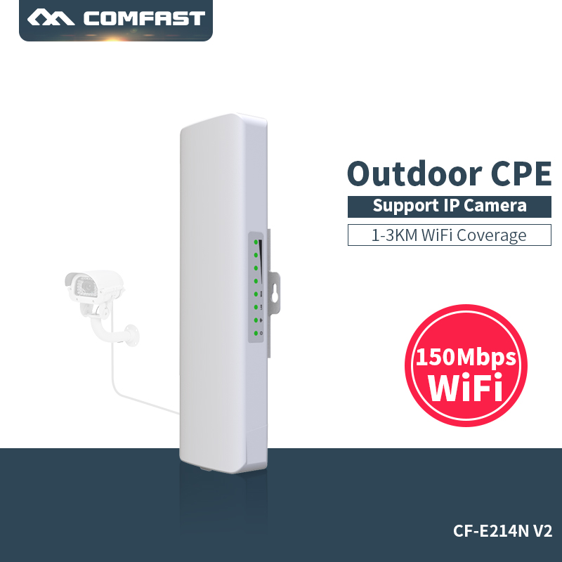 COMFAST Wireless Outdoor Bridge CPE WIFI Router 2KM 150Mbps Access Point Router With 14dBi Antenna WIFI Nanostation cf-e214n-v2 comfast 300mbps outdoor cpe 2 4g wi fi ethernet access point cf e314n wifi bridge 1 3km extender cpe router with poe wifi router