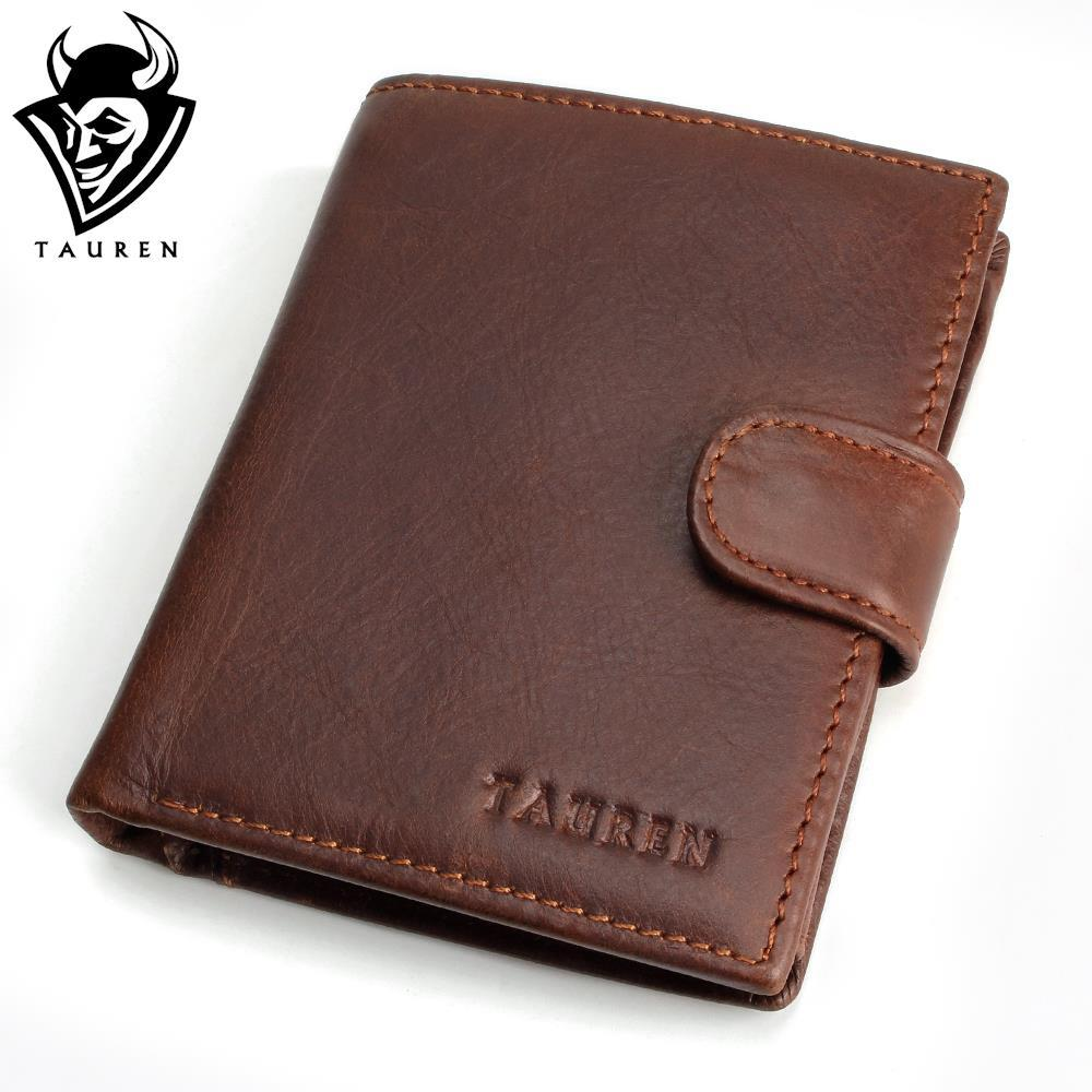 TAUREN Men 100% Brand Vintage Designer Genuine Oil Wax Leather Cowhide Bifold Wallet Coin Purse Card Holder With Coin Pocket