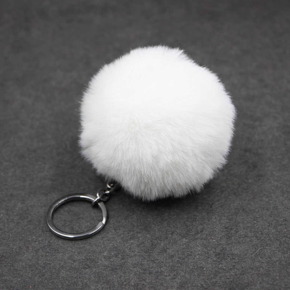 LLavero de pompón de bola suave de piel de conejo falso bonito para mujeres bolso de coches Pom llaveros mullidos llavero colgante Porte clef encanto