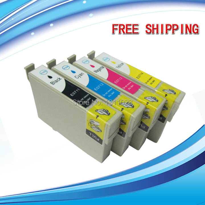 INK WAY T0711 - T0714 20 PCS 5SETS of ink cartridge for <font><b>Epson</b></font> D120 D78 D92 DX8450 DX9400F <font><b>BX300F</b></font> SX200 SX205 SX400 image