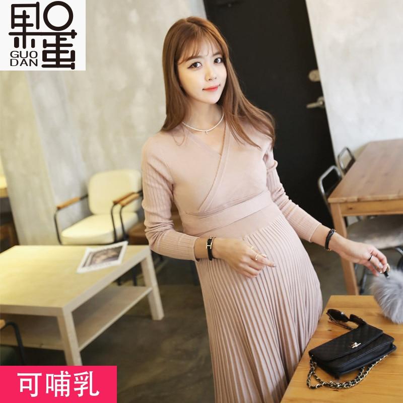 ФОТО 2017 new sexy V-neck knit long sleeves, pregnant women new dress, pleated Slim pregnant women skirt