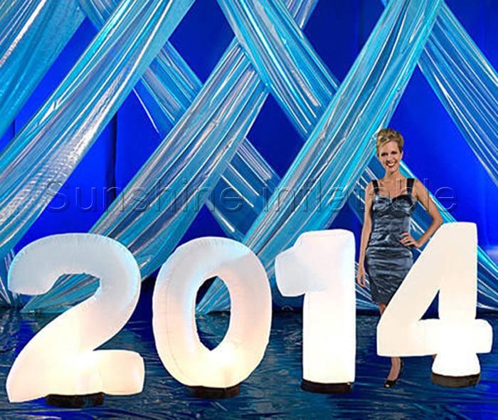 Lettre gonflable géante, chants gonflables, numéros gonflables avec lumières led colorées pour la décoration du nouvel an