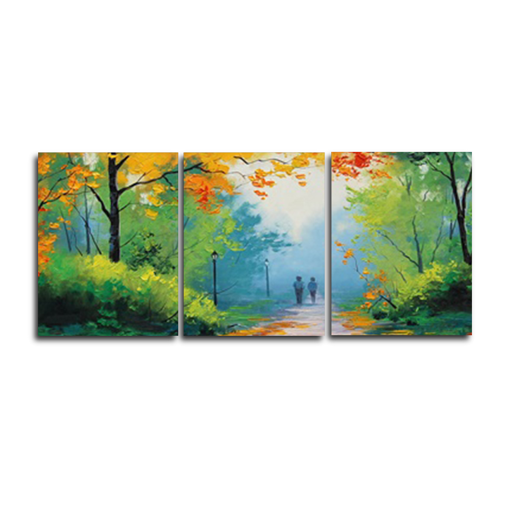 Laeacco Top Selling 3 Panel Cartoon Forest Wall Art Posters and Prints Canvas Painting Home Living Room Bedroom Decor