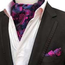Glamour Men's Scarf Retro Silk Jacquard Tie Cravat Neckerchief Men's Ascot Tie Hanky Suits Set Pocket Handkerchief Men Gift