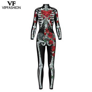 Image 3 - VIP FASHION 2019 New Goods 3D Skull Bone Skeleton Print Rompers Western Halloween Costumes For Ladies Jumpsuit Costplay Bodysuit