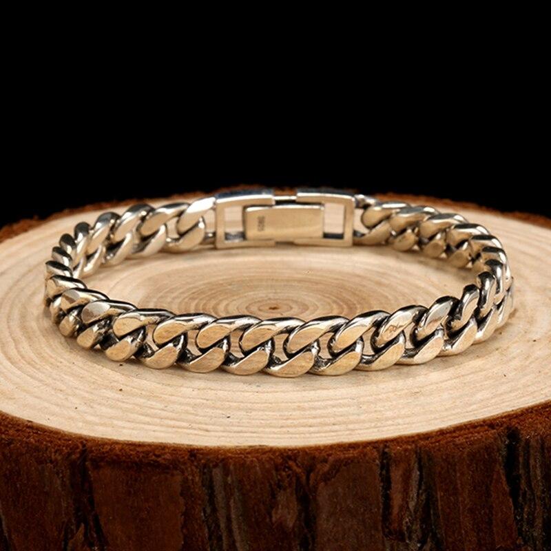 ZABRA Real 925 Sterling Silver Bracelet Mans 8mm Width 18.5 Length Rock Fashion Chain Bracelets For Man Jewelry Gift - 4