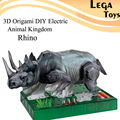 3D Origami DIY Electric Animal Kingdom The Rhino,Electric Circuit Paper Science Kid,DIY Puzzle Paper Building Model kit baby Toy