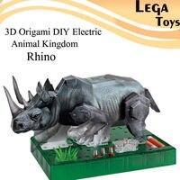3D Origami FAI DA TE Elettrico Regno Animale Il Rinoceronte, Circuito Elettrico Carta Science Kid, Puzzle FAI DA TE Costruzione di Carta Modello kit Giocattolo del bambino