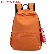 ELIM&PAUL Women Canvas Backpack Solid Cute Backpack For Teenage Girls High Quality School Backpacks For Boys Studded Backpack