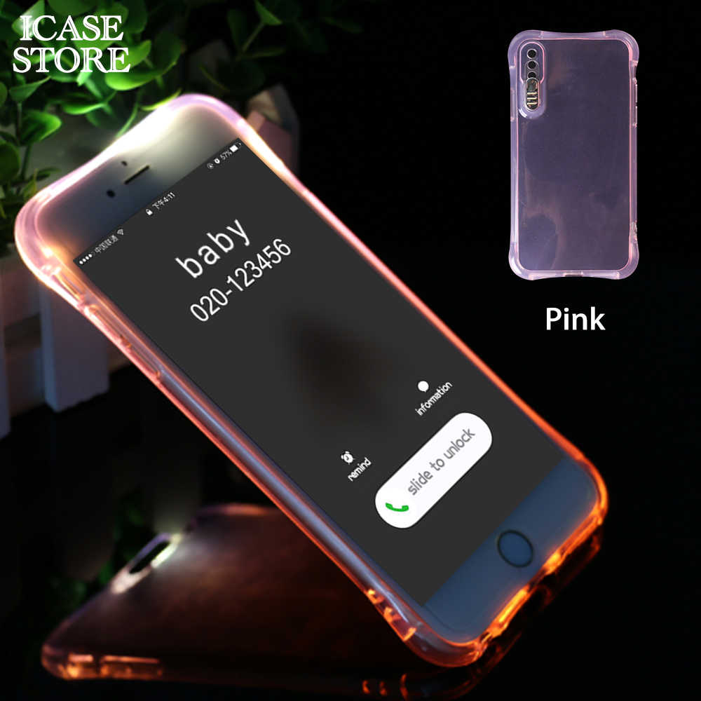 more photos 44a08 13ff4 Ikase store Light Up Phone Case For iPhone x 8 7 6 5 5s plus Soft TPU LED  Flash Incoming Call cell phone cover