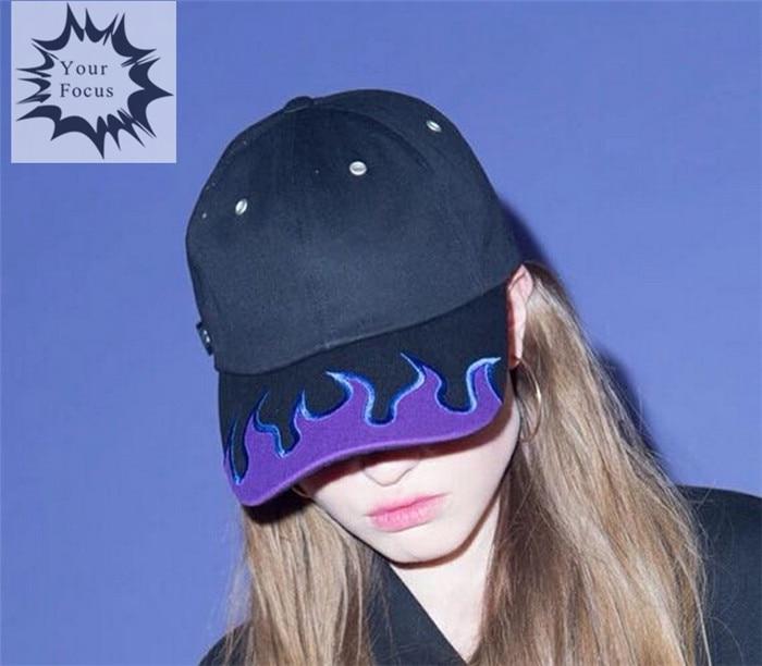 Prix pour 2017 harajuku hip hop punk rock k pop ulzzang violet flamme broderie chapeau noir casquette de baseball amant