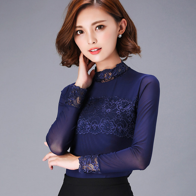 blusas women blouses femininas turtleneck lace tops y camisas mujer womens 2016 blusa feminino Shirt  XXXL Plus Size Black Blue
